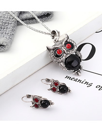 Fashion Black Owl Diamond Earrings Necklace Set  Alloy
