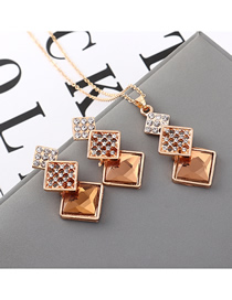 Fashion Coffee Geometric Square Diamond Earrings Necklace Set