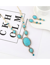 Fashion Gold Small Semi-circular Turquoise Earrings Necklace Set  Alloy