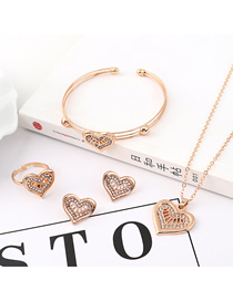 Fashion Gold Love Diamond Earrings Necklace Ring Bracelet Set