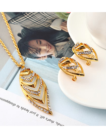Fashion Gold Boat Diamond Earrings Necklace Set  Iron