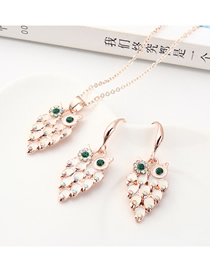 Fashion Gold Little Owl Diamond Earrings Necklace Set  Alloy