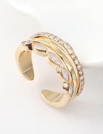 Fashion Kc Gold Alloy Diamond Multi-layer Ring  Alloy