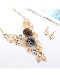 Fashion Gold Flower Diamond Earrings Necklace Set  Alloy