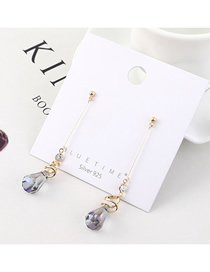 Fashion Gold Plated Gold Glass Fringed S925 Silver Needle Earrings