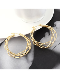 Fashion Dumb Gold Plated Gold Circle Mesh Hollow Earrings