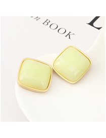 Fashion White Plated Gold Square Resin S925 Silver Needle Earrings