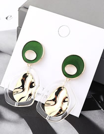 Fashion Green Plated Gold Small Lotus Leaf S925 Silver Needle Earrings