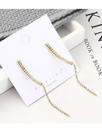 Fashion Gold Plated Gold Long Tassel Moon S925 Silver Needle Earrings