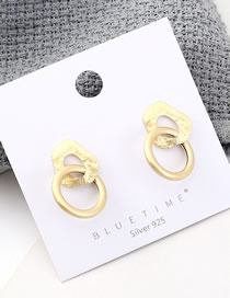 Fashion Gold Plated Gold Ring Cutout S925 Silver Needle Earrings