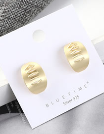 Fashion Gold Plated Gold Half Small Round S925 Silver Needle Earrings
