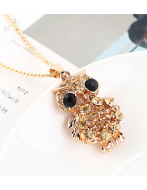 Fashion Champagne Gold Owl Diamond Cutout Necklace