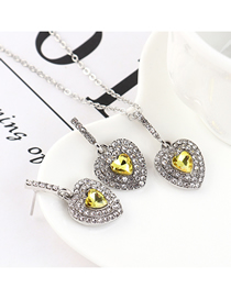 Fashion Purple Yellow Heart-studded Necklace Earring Set