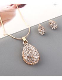Fashion Kc Gold Diamond Heart Necklace Earring Set