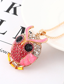 Fashion Pink Diamond Owl Head Necklace