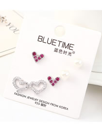 Fashion Silver Plated Real Gold Love Caution Pearl S925 Silver Needle Earring Set