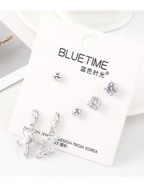 Fashion Silver Plated Gold Flying Wing Square Crystal S925 Silver Needle Earrings Set