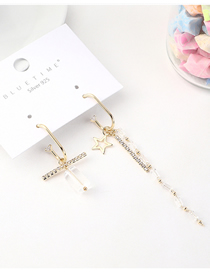 Fashion Gold Plated Gold Five-star Asymmetric S925 Silver Needle Earrings