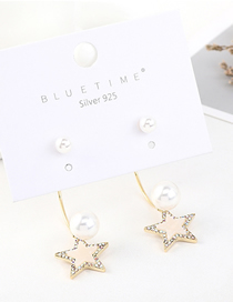 Fashion Gold Plated Gold Stars Pearl S925 Silver Needle Earrings