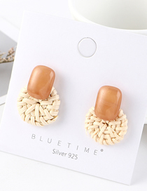 Fashion Light Brown Plated Gold Plated Small Disc S925 Silver Needle Earrings (coffee)