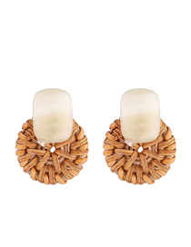 Fashion Beige Plated Gold Plated Small Disc S925 Silver Needle Earrings (white)