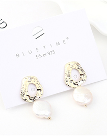 Fashion Gold Plated Gold Small Lotus Leaf Pearl S925 Silver Needle Earrings