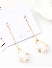 Fashion Gold Plated Gold Fringed Pearl S925 Silver Needle Earrings