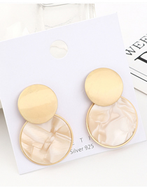 Fashion Gold Plated Gold Round S925 Silver Needle Earrings