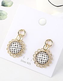 Fashion Golden Sunflower-plated Real Gold S925 Silver Pin Earrings