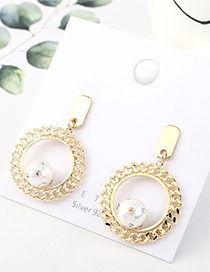 Fashion Golden Real Gold Plated Large Circle Pearl S925 Silver Pin Earrings
