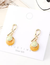 Fashion Green + Light Yellow Dripping Small Disc Knotted Earrings