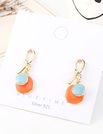 Fashion Orange + Sea Blue Dripping Small Disc Knotted Earrings