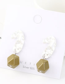 Fashion Dumb Silver + Green Alloy Irregular Surface Irregular Resin Earrings