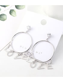 Fashion Platinum Love Letters Big Circle With Diamonds Earrings