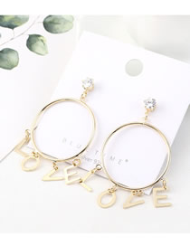 Fashion 14k Gold Love Letters Big Circle With Diamonds Earrings