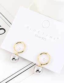 Fashion Golden Gold-plated Round Pearl Earrings