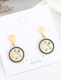 Fashion Navy Gold-plated Small Starfish Love Round Earrings