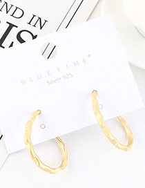 Fashion Golden Gold-plated Irregular Bamboo Round Earrings