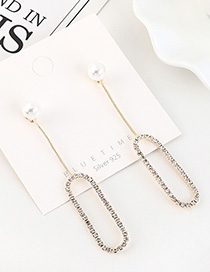 Fashion 14k Gold Gold-plated Diamond And Pearl Openwork Earrings