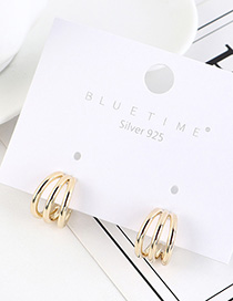 Fashion 14k Gold Gold Plated Half Circle Cutout Earrings