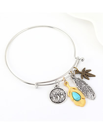 Fashion Silver Small Tree Leaf Feather Turquoise Bracelet