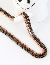 Fashion Gold + Brown + Green Snake Chain Contrast Color Stitching Solid Sweater Chain
