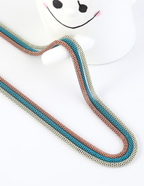 Fashion Light Brown + Blue + White Snake Chain Contrast Color Stitching Solid Sweater Chain