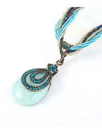 Fashion Sea Blue Resin Diamond Bead Necklace