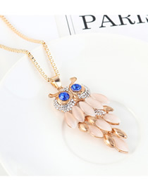 Fashion Imitation Champagne Gold Diamond Owl Resin Sweater Chain