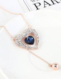 Fashion Rose Gold + Navy Diamond Love Beaded Sweater Chain