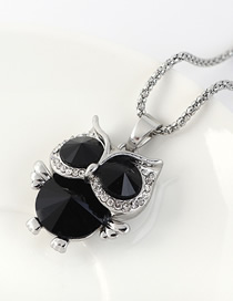 Fashion Platinum + Black Owl Sweater Chain With Diamonds And Glass Diamonds