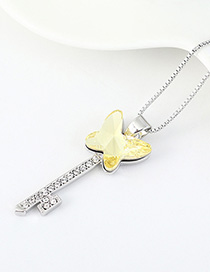 Fashion Pale Yellow Diamond Butterfly Key Necklace With Diamonds