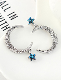 Fashion Blu-ray Diamond Pentagram Moon Ear Studs