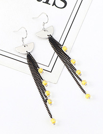 Fashion Black Crystal Tassel Small Lantern Earrings